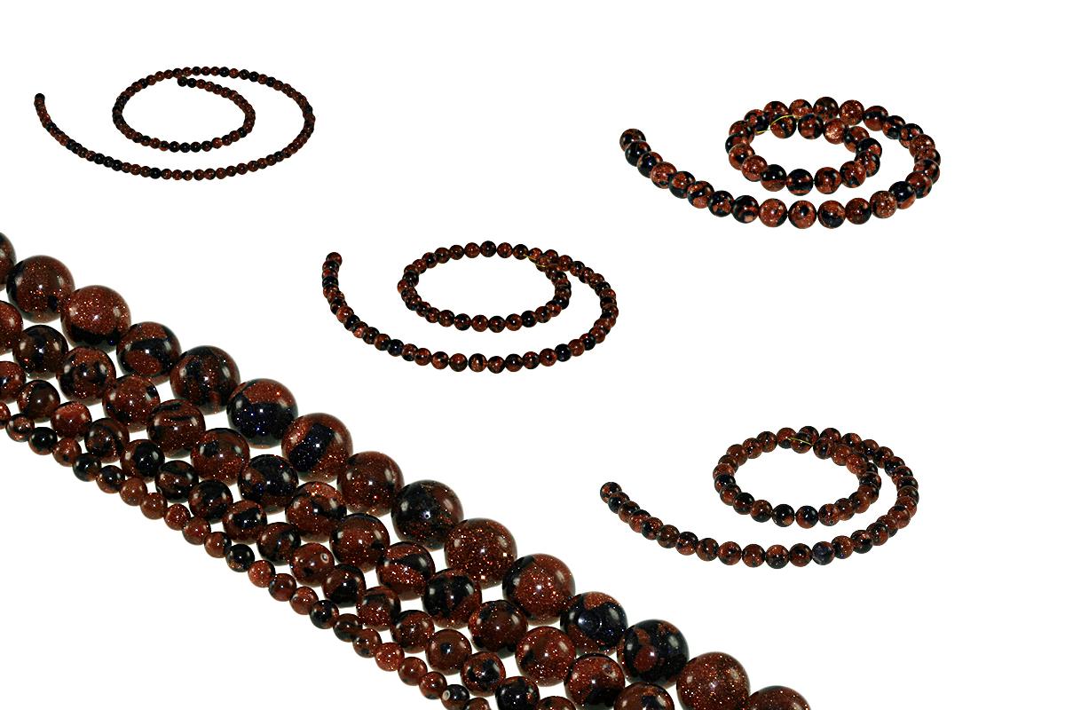 Goldfluss mit Blaufluss 4-10mm Kugeln Strang Perlen Schmuck Top Qualität